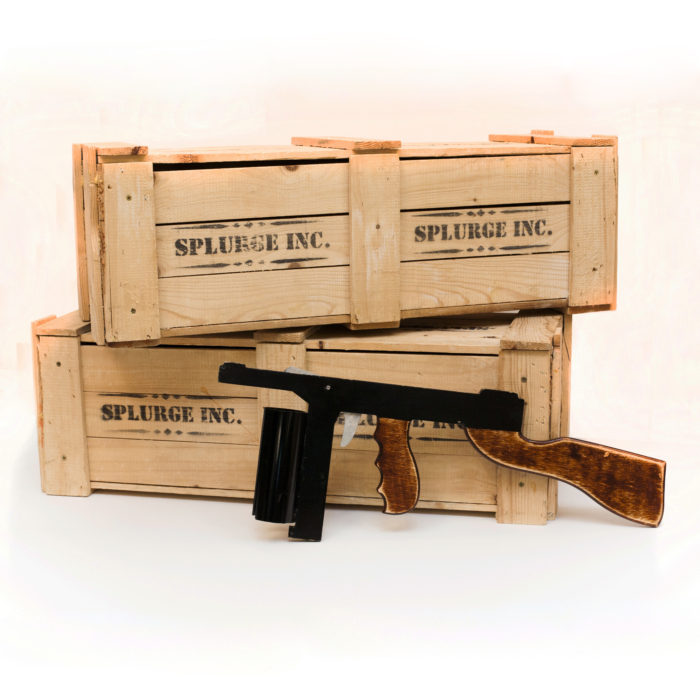Wooden Crates and Splurge Guns in the style of Bugsy Malone.